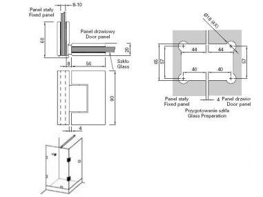 Zawias szkło-szkło 90 GX990.4