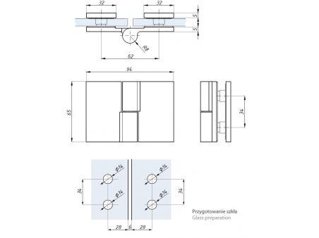 ETNA Zawias standardowy lewy 180 (szkło - szkło) TGHS180LH
