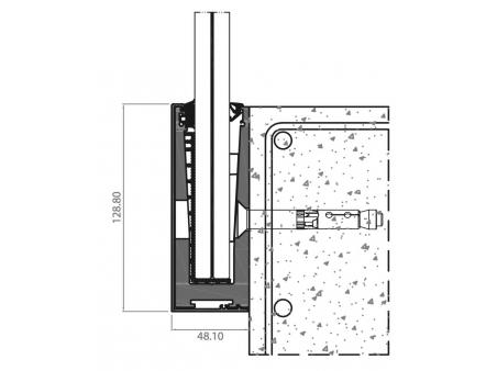 Balustrada w listwie aluminiowej mocowanej do boku  bez  poręczy na szkle 8.8.4 VSG